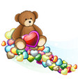 brown teddy bear with valentine hearts vector image