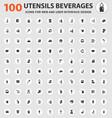 utensils beverages icons set vector image