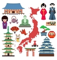 Japan culture icons vector image