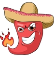 sharp chili pepper in a sombrero vector image
