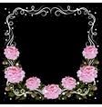 Vintage frame with pink peonies vector image