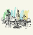 background prague charles bridge vector image vector image