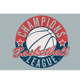 Basketball Champions league distressed print vector image vector image