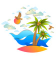 beach with palms sea waves perfect seascape birds vector image