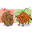bear and bull market cartoon vector image