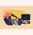 best friends girls watching sad movie at home vector image vector image