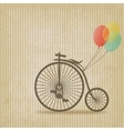 bike with balloons retro striped background vector image