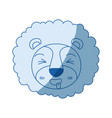 blue color shading silhouette cute face of lion vector image vector image