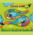 boardgame template with toucan birds in park vector image vector image