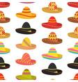 cartoon color mexican sombrero hat seamless vector image vector image