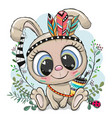 cartoon tribal rabbit with feathers on a blue vector image vector image