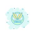cartoon vegan label badge icon in comic style vector image vector image