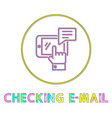 checking email round minimalistic linear icon vector image