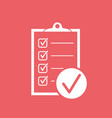 checklist icon survey in flat design on red vector image vector image