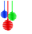 christmas balls made of red blue green ribbons vector image