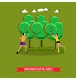 Couple is playing badminton outside Flat design vector image