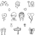 Cute Wedding party in doodle vector image