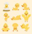 cute yellow duck cartoon set vector image