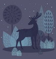 deer in winter forest vector image