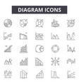 diagram line icons signs set outline vector image vector image
