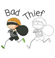 doodle bad thief character vector image vector image