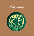 environment day card papercut earth and plant vector image vector image