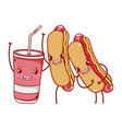 fast food cute hot dogs and plastic cup cartoon vector image vector image