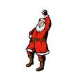Father Christmas Santa Claus waving hello standing vector image vector image