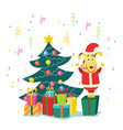 flat dog in santa costume christmas tree vector image