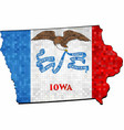grunge iowa map with flag inside vector image