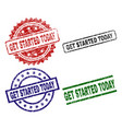 grunge textured get started today stamp seals vector image