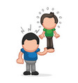 hand-drawn cartoon of muscleman lifting puny guy vector image vector image