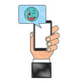 hand with smartphone chatting winking emoji vector image vector image