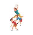 happy boys playing together naughty kids vector image vector image