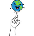 happy smiling earth globe sitting on a hand vector image vector image