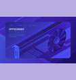 isometric gpu mining landing page concept vector image vector image