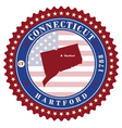 Label sticker cards of State Connecticut USA vector image vector image