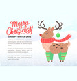merry christmas holiday banner with deer in scarf vector image vector image