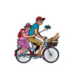 old man and old lady travelers on bike selfie on vector image