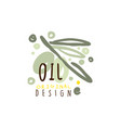 olive oil label with olive branch vector image vector image