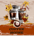 poster or banner with coffee plastic cups painted vector image vector image