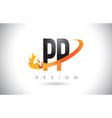 pp p letter logo with fire flames design and vector image vector image