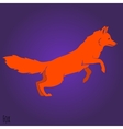 Red jumping fox silhouette vector image