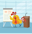 rooster builds business plans flat concept vector image vector image