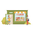 seller invites buyer to grocery greengrocery store vector image vector image