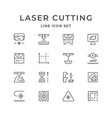 set line icons laser cutting vector image vector image
