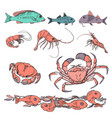 set of various sea creatures icons hand drawing vector image vector image