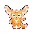 smiling fennec fox swings its paw with salutation vector image vector image