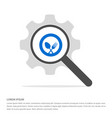 spoon and fork icon search glass with gear symbol vector image