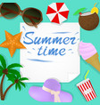 summer travel template with beach accessories vector image